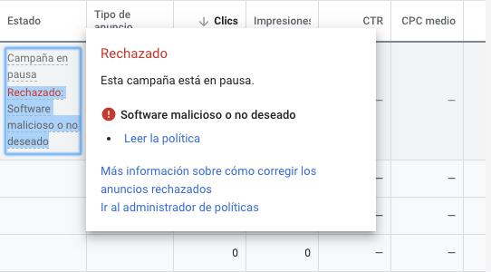 Anuncio rechazado Google Ads Software malicioso